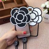 caisse de téléphone de silicones de fleur du camélia 3D avec la lanière pour l'iPhone 6 6splus 7 7plus (XSDD-027)