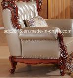 Sofá europeu do meio couro do estilo da mobília da sala de visitas