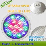 Lf-PAR56-18 * 3W (RGB 3 em 1 LED) PAR56 Piscina eauipment-Underwater Light \ /, IP68 plástico casca PAR56 Luz