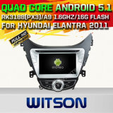 Carro DVD GPS do Android 5.1 de Witson para Hyundai Elantra 2011 com sustentação do Internet DVR da ROM WiFi 3G do chipset 1080P 16g (A5718)