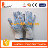 Ddsafety 2017 Bleach Cotton Polyester String Knit Blue PVC Dots Both Sides Working Safety Glove