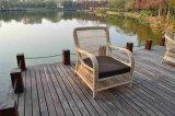 Cubo di vimini del giardino che pranza il sofà esterno stabilito della mobilia del rattan