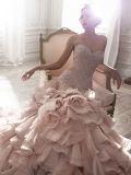 A sereia 0087 cora vestido de casamento estratificado do plissado de cristal Strapless cor-de-rosa do teste padrão