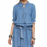 Robe en mousseline de soie denim jean