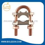 銅のコネクター接地棒は銅の基づいているU字型ボルトクランプを締め金で止める