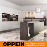Moderner hölzerner Küche-Luxuxschrank mit natürlicher gesinterter Oberflächeninsel (OP16-L22)