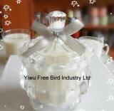 Corona imperial del diseño de la vela de cristal decorativa barata atractiva del tarro formada