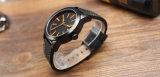 Relógio Hl-304 da liga da forma do relógio do couro genuíno