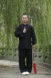 Одежда ворота высокосортного Long-Sleeved льна людей хиа Wudang Tai вкосую