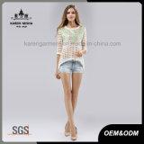 3/4 chandail de pull tricoté par réseau de bord de chemise Salut-Lo