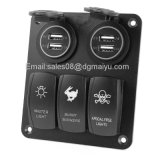 Le plus récent 12V 3 Gang LED Rocker Switch + 4 LED USB Socket Panel Marine Boat RV Breaker