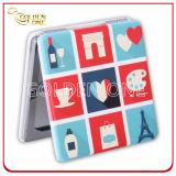 Miroir Pocket en cuir carré se pliant estampé par Cmyk de qualité