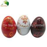 Caja de la lata del regalo de la forma del huevo de Pascua
