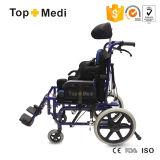 ألومنيوم [هيغبك] يرقد [سلبرل] حالة شلل أطفال كرسيّ ذو عجلات