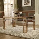 現代簡単な大理石の上の金属の足の食堂テーブルの家具