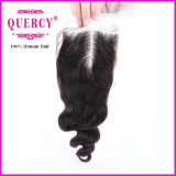 波自然なカラーサイズ3.5X4のバージンのブラジルの毛の閉鎖を緩めなさい