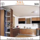 Armadio da cucina poco costoso di figura della melammina U di progetto di N&L con la contro parte superiore di alta qualità