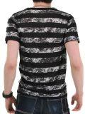 نمط صبغ شريط [ف] عنق قصير كم فصل صيف بيع بالجملة قطن رجال [ت] قميص