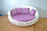 Grande sofà rotondo del salotto del Chaise del rattan esterno con il baldacchino