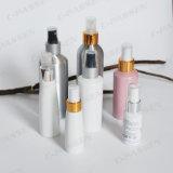 Botella de aluminio blanca de encargo del aerosol con la bomba blanca del rociador (PPC-ACB-048)