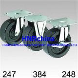 Schwarze industrielle Schwenker-Platten-Oberseite-Gummifußrolle