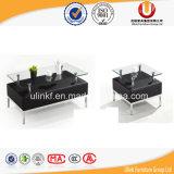 Tabella di tè domestica moderna di vetro della mobilia dei piedini del metallo (UL-ST601)