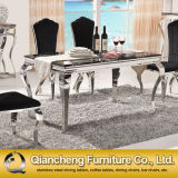 8 Seater Stainless Steel Marble Dining Table con Chairs