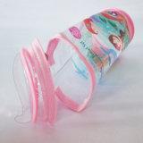 Bolso transparente de la cremallera del cilindro del PVC del claro con la manija