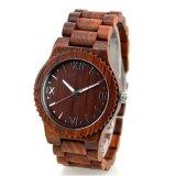 Hl-W010 OEM het Gestreepte Houten Rode Horloge van het Kwarts van het Sandelhout Ebbehouten