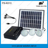 Mini sistema solare domestico del LED con il caricatore del comitato solare di 11V 4W e del telefono del USB