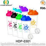 BPA por atacado livram a garrafa de água plástica do abanador da proteína, o frasco plástico personalizado 600ml do abanador do pó (HDP-0301)