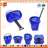 A cesta de compra plástica do supermercado da boa qualidade com rolamento roda (Zhb79)
