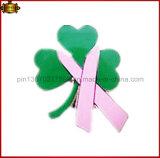 Grün lässt Reverspin-Brustkrebspin-Abzeichen (JINJU16-008)