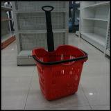 Panier à provisions de flottement simple en plastique de supermarché de Pôle avec Hanlde