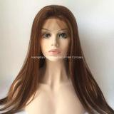 """26 """" langes Silk gerades Remy Haar-volle Spitze-Perücken # dunkelrotes #99j"""