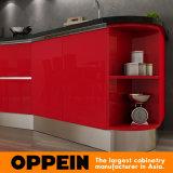 Armadio da cucina modulare all'ingrosso di legno della lacca rossa moderna di mostra della Tanzania