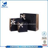 カスタムロゴによって印刷されるボール紙の黒の紙袋