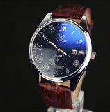 Montre imperméable à l'eau de calendrier de la montre-bracelet en cuir des hommes H307 à extrémité élevé avec la flèche indicatrice lumineuse