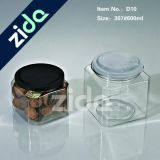 Big Square Toy Can com Clear Pet Window, Round Tin Box, Square Tin