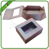 Rectángulo de regalo de papel plegable de encargo con la ventana del PVC