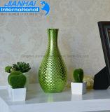 Garganta longa vaso de vidro colorido da flor para a mobília da beleza