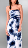 Le 95%Viscose 5%Spandex Tie Dye ou Solid Maxi Dress D1 des dames