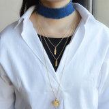 ゴールド・トーンの層の鋳造の吊り下げ式の青ジーンのカスタム方法チョークバルブのネックレス