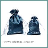 Saco luxuoso do presente do Drawstring do cetim do saco do presente do cetim do azul de marinha