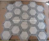 Azulejo de mosaico de mármol blanco y gris del hexágono
