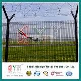 Загородка авиапорта высокия уровня безопасности/сваренная авиапортом загородка ячеистой сети/загородка колючей проволоки бритвы