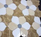Mosaico de mármol blanco del diseño de la flor, diseño de piedra del mosaico, mosaico de mármol blanco