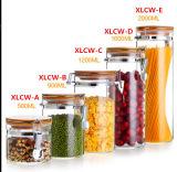 Vaso di vetro sigillato del vaso della candela del vaso del miele con il coperchio sigillato dell'inarcamento