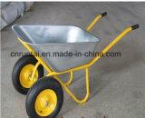O dobro durável roda o carrinho de mão de roda quente da bandeja da venda 76L Gslvanized