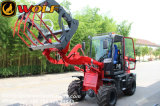 中国0.8トンの小さいローダー、草のフォークを持つ小型ローダー
